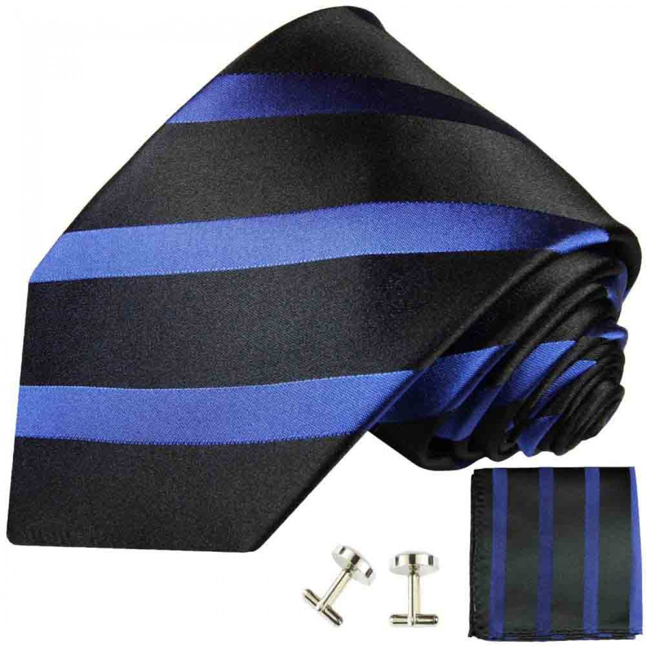 Blue black mens tie striped necktie - silk tie and pocket square and cufflinks