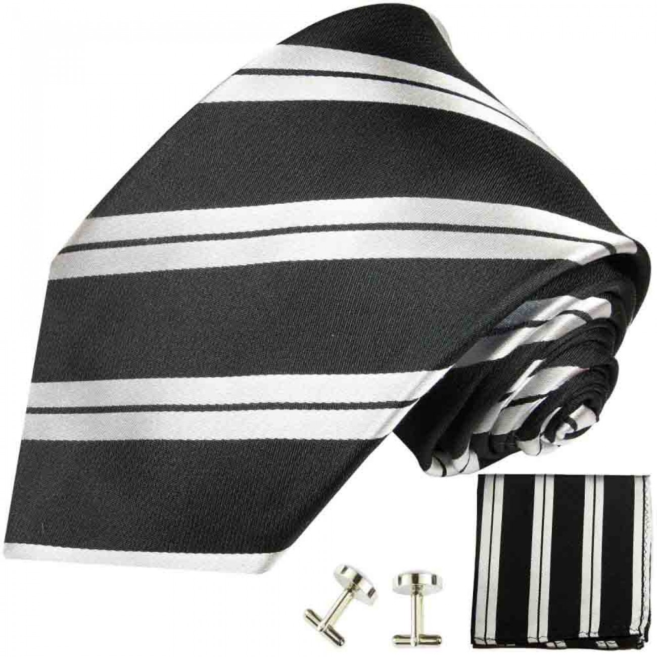 black silver mens tie striped necktie - silk tie and pocket square and cufflinks