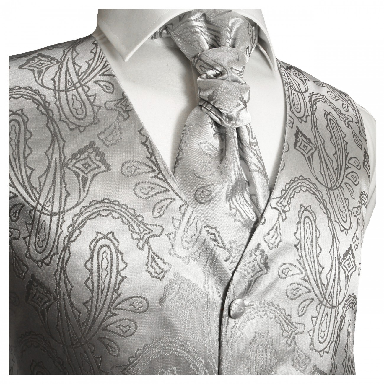Silver waistcoat paisley for wedding with necktie ascot tie pocket square and cufflinks v3
