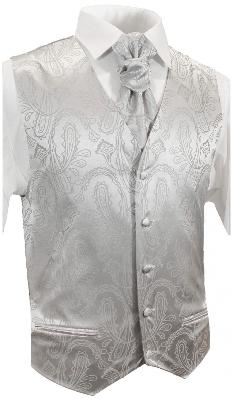 Silver paisley wedding tuxedo vest with ascot tie v3