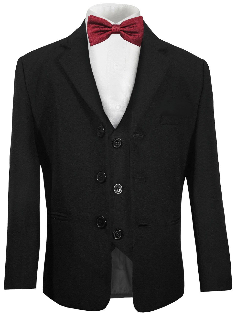 Boys suit black and bow tie burgundy red