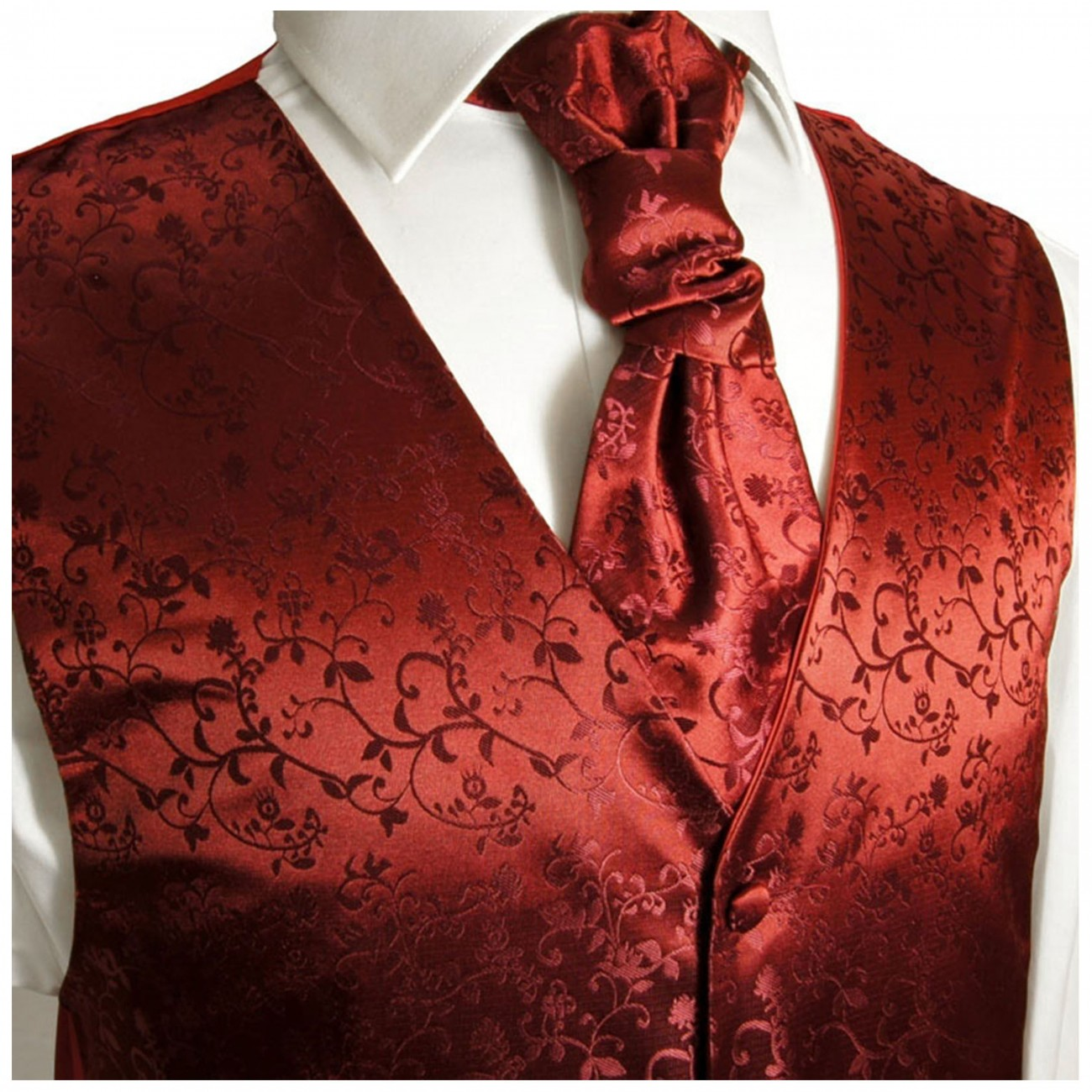 Wedding vest set with ascot tie burgundy
