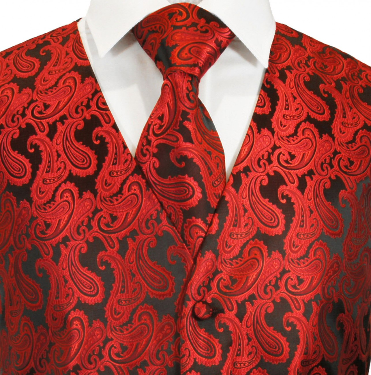 Red wedding tuxedo vest with ascot tie v99