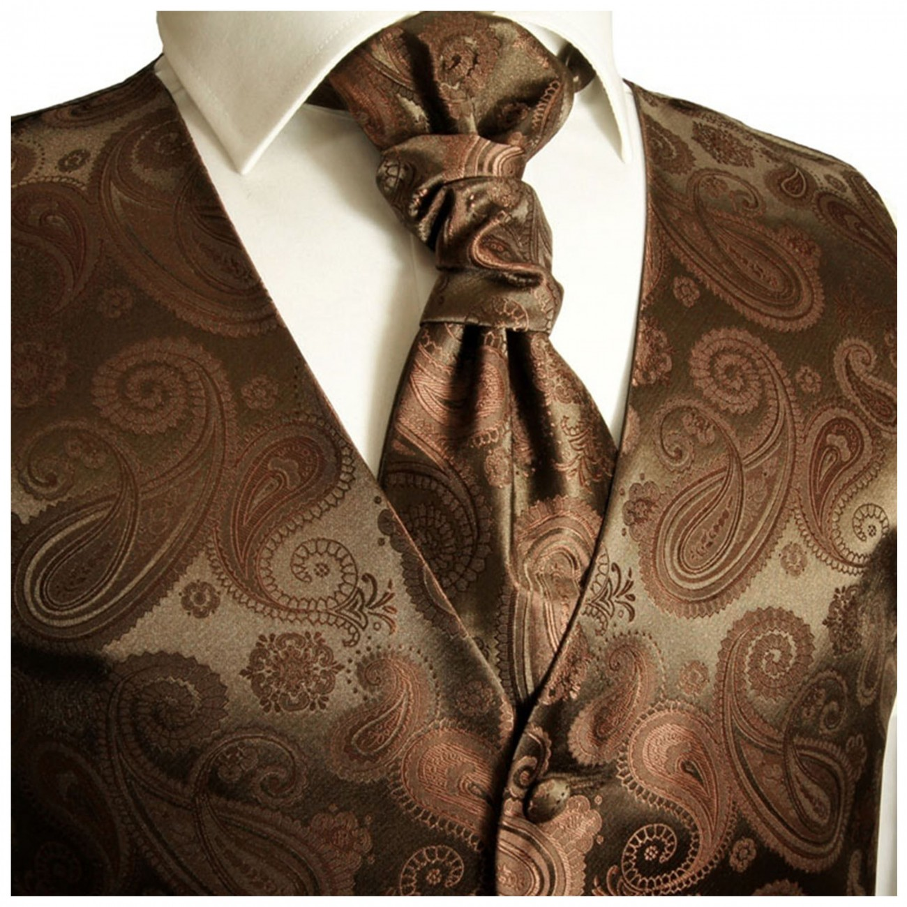WEDDING VEST SET brown + SLIM LINE Shirt white V96HL30
