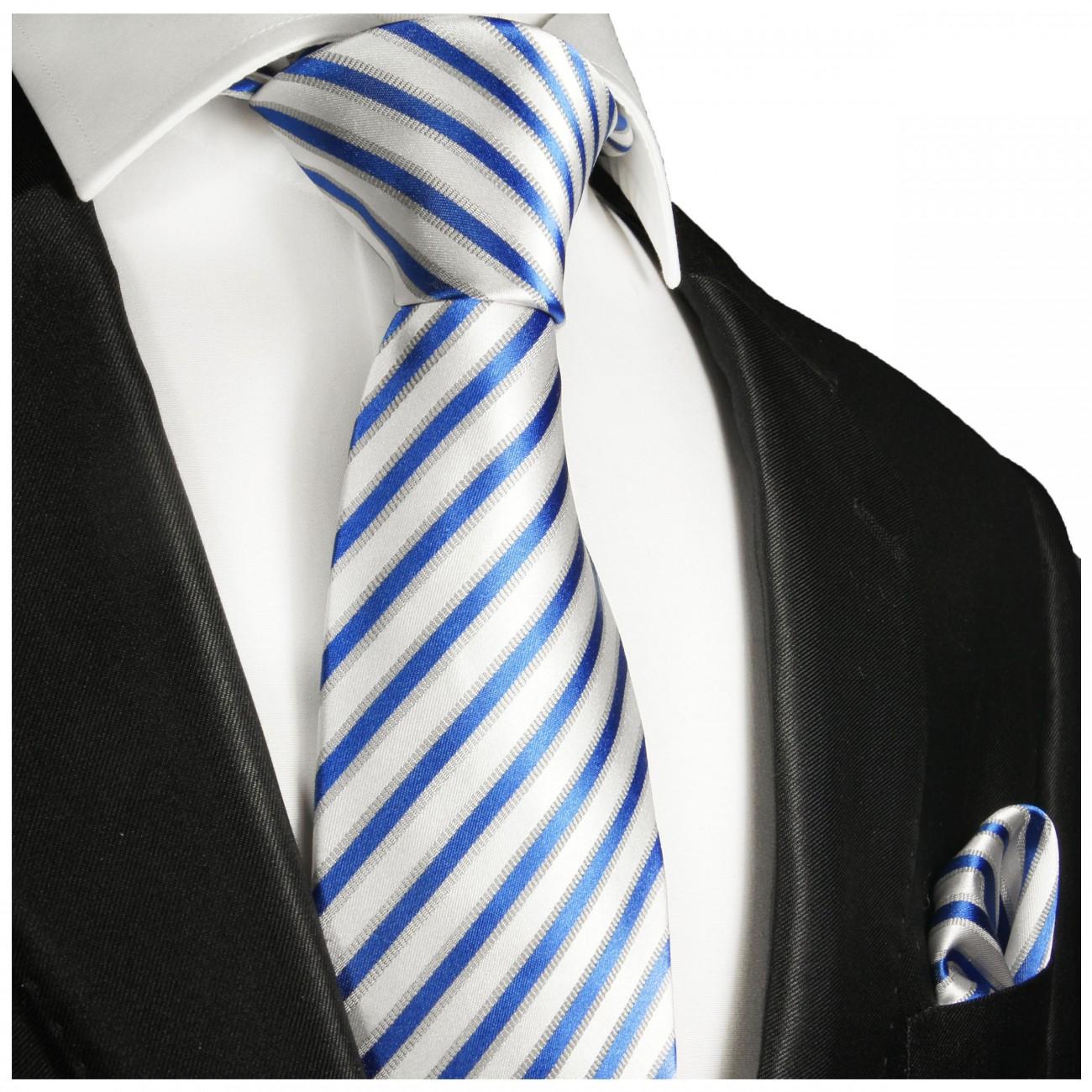 Einstecktuch Paul Malone 685 Herren-accessoires Krawatten Set 2tlg Blau Gestreifte Seidenkrawatte Kleidung & Accessoires