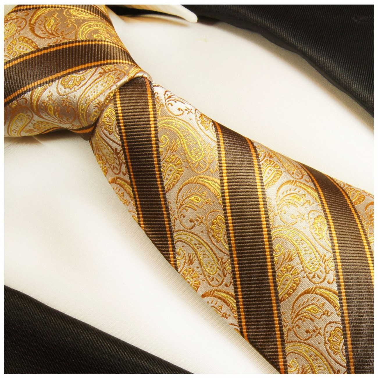 Brown gold striped necktie - silk mens tie and pocket square and cufflinks