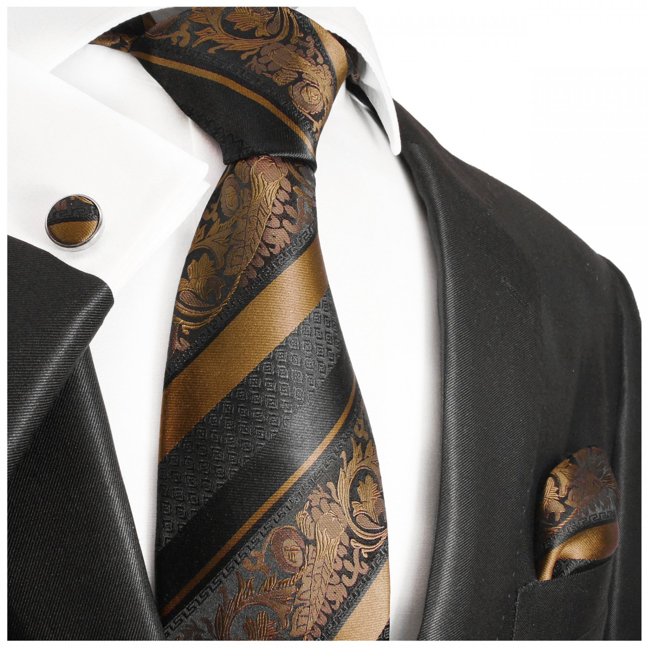 Brown tie baroque striped necktie - silk mens tie and pocket square and cufflinks