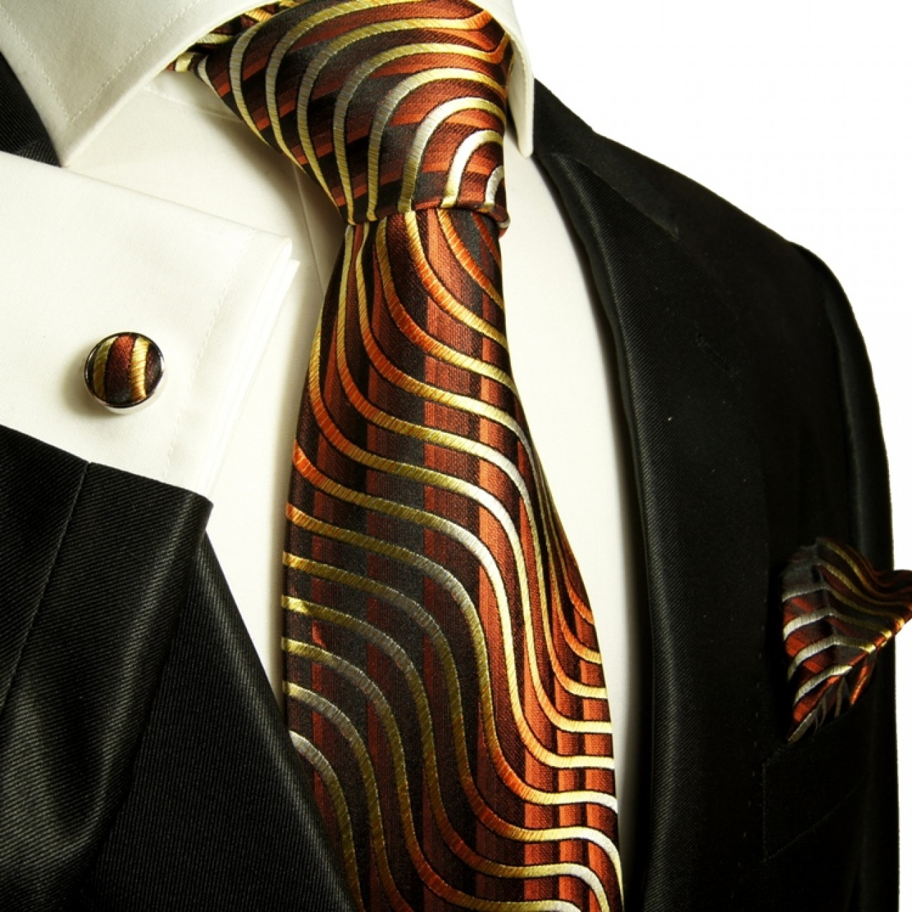 brown necktie set 3pcs