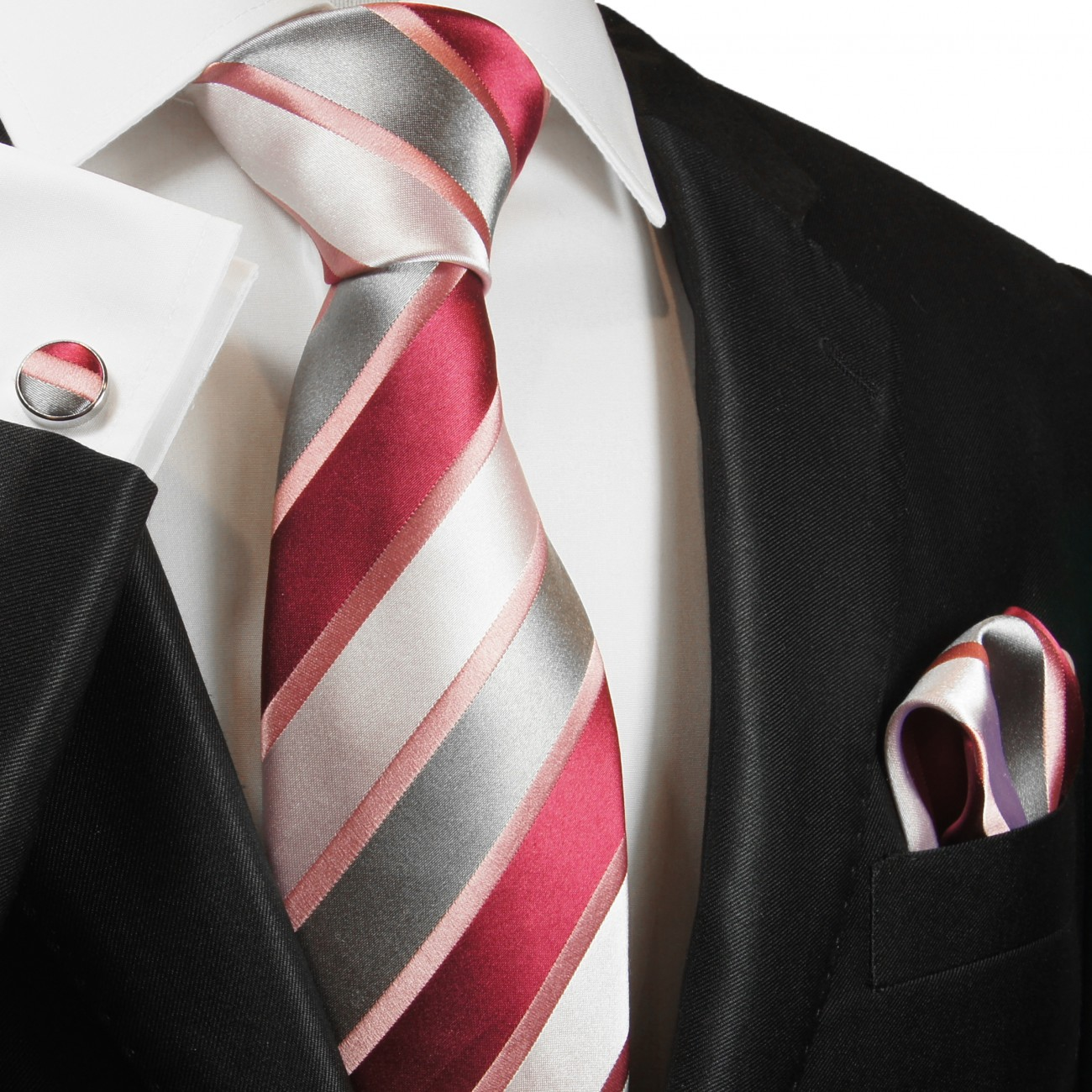 Red pink white silver striped necktie - silk mens tie and pocket square and cufflinks