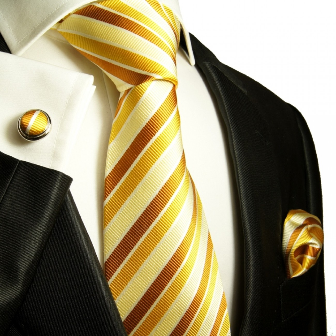 gold brown necktie set 3pcs
