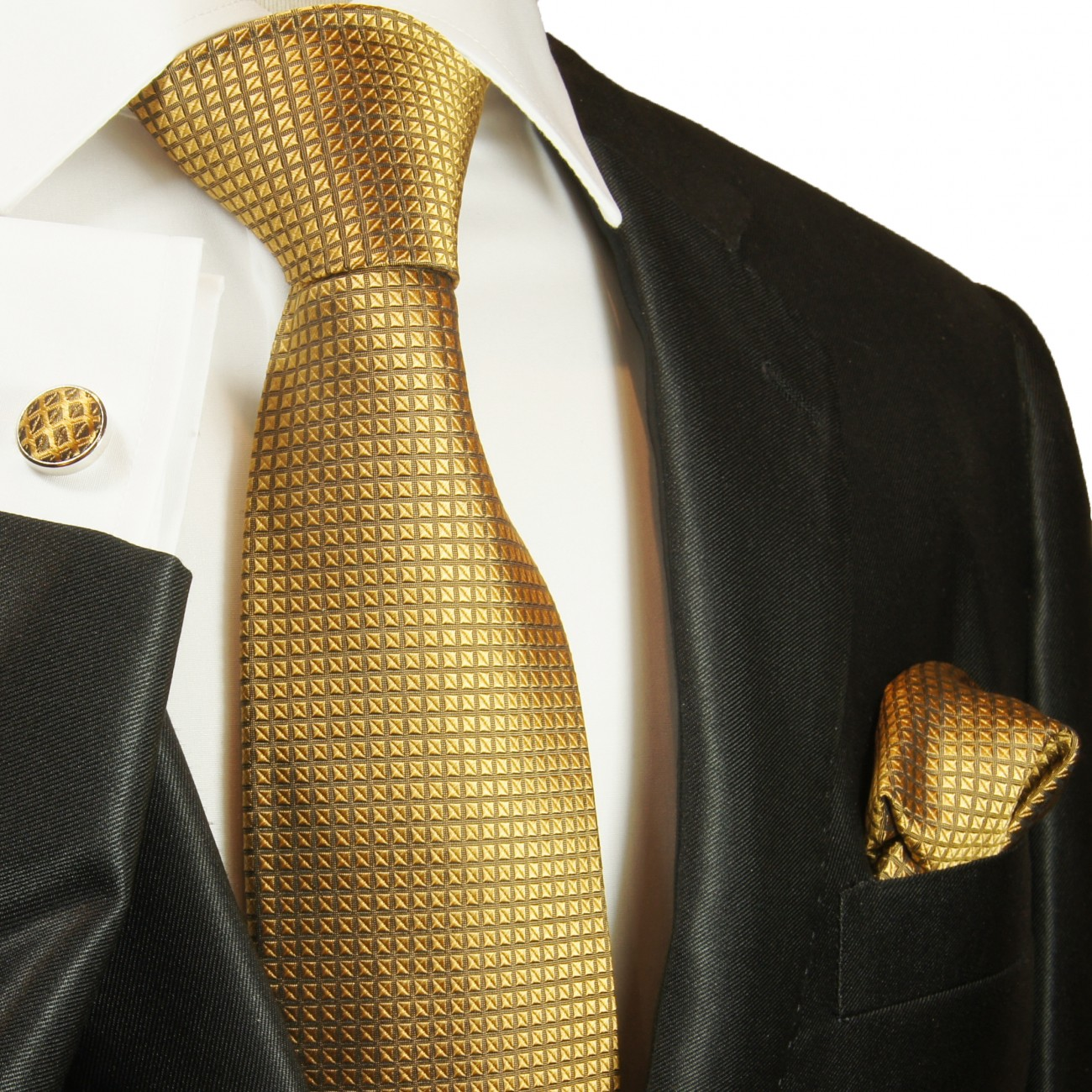 Gold mens tie solid necktie - silk tie and pocket square and cufflinks