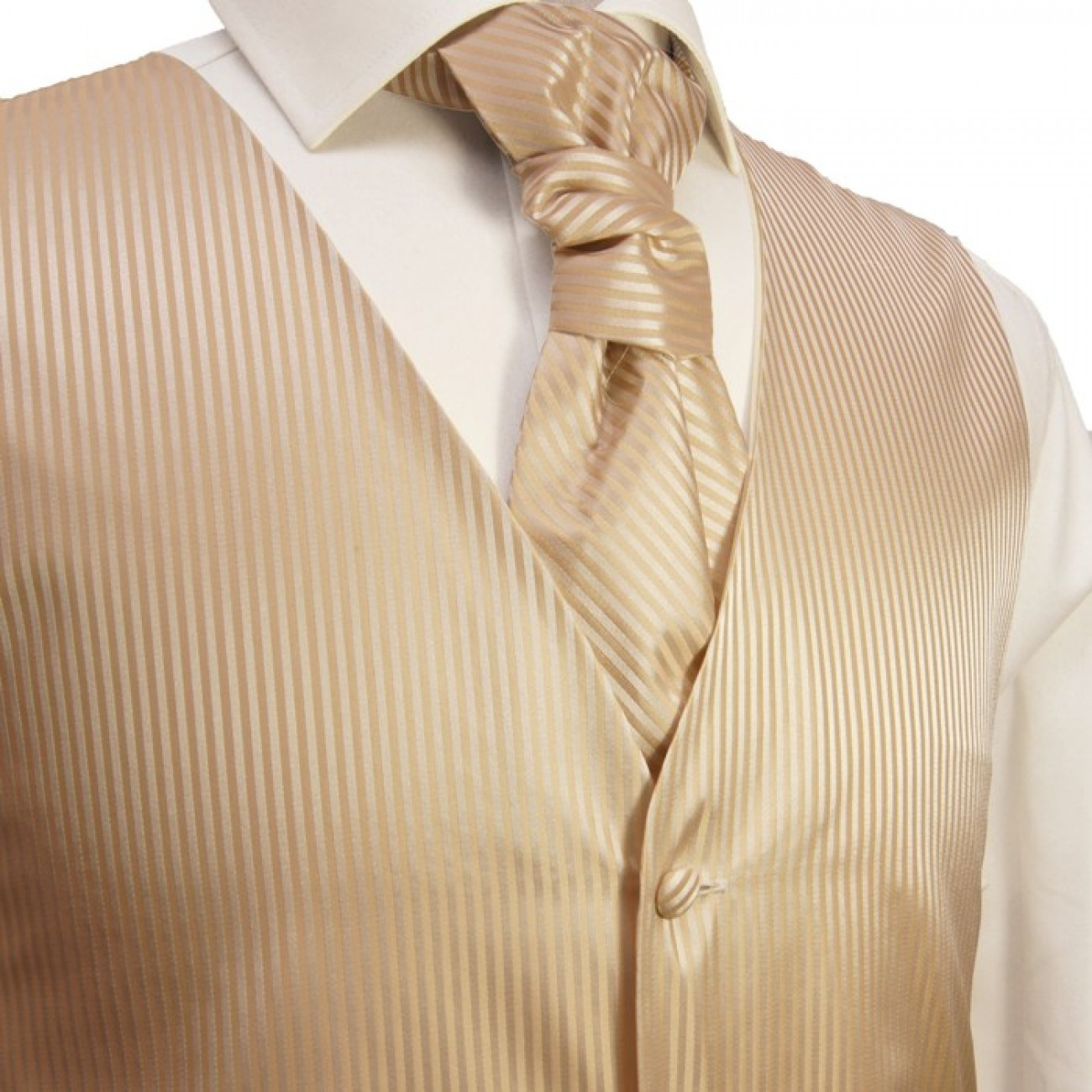 Cappuccino waistcoat for wedding with necktie ascot tie pocket square and cufflinks v28