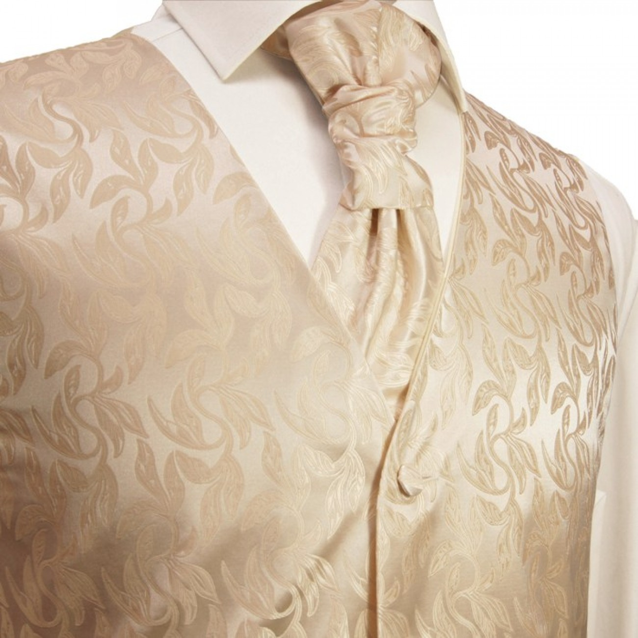 Cappuccino waistcoat for wedding with necktie ascot tie pocket square and cufflinks v42