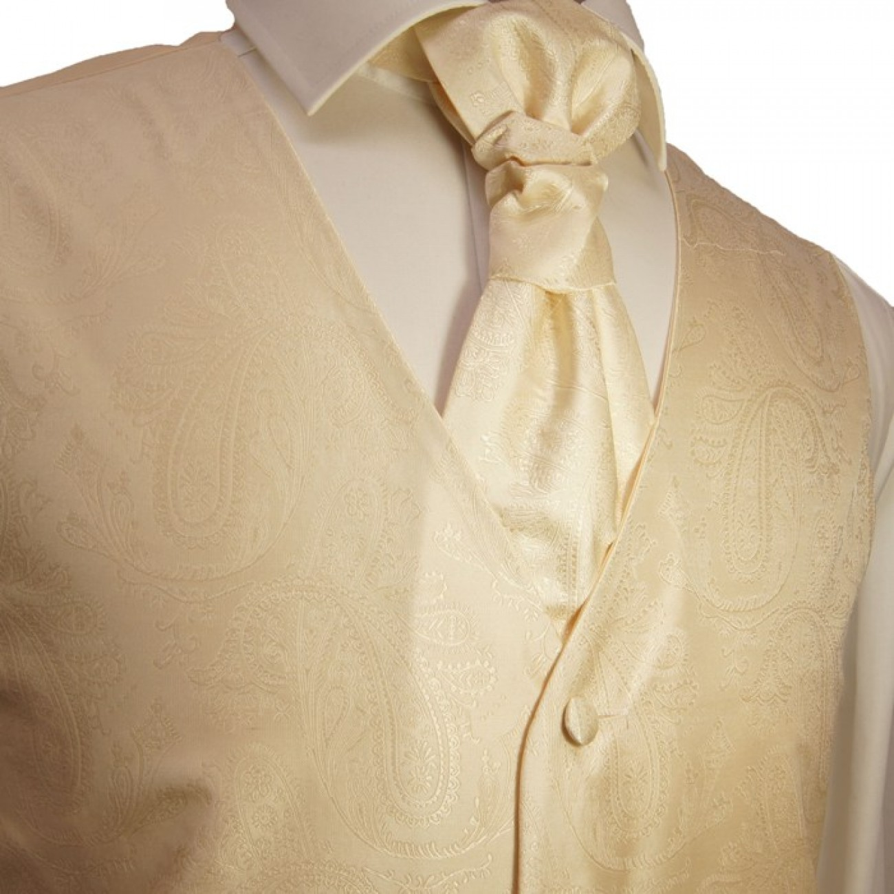 Cream waistcoat for wedding with necktie ascot tie pocket square and cufflinks v27
