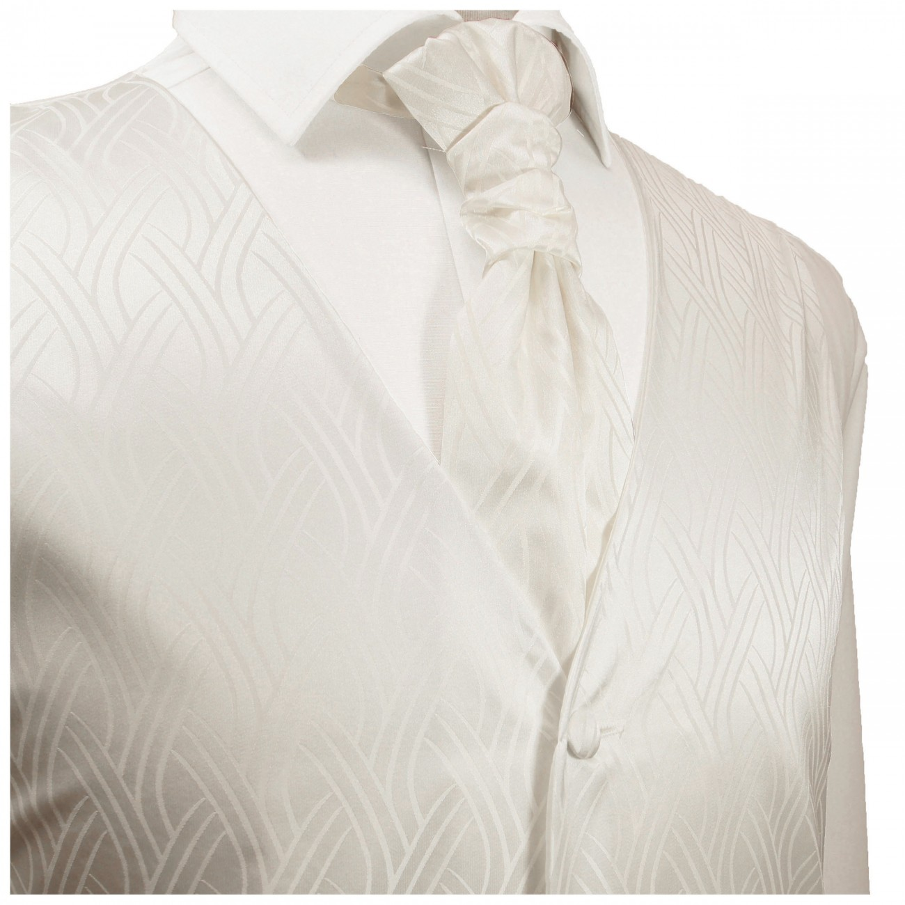 Ivory waistcoat striped for wedding with necktie ascot tie pocket square and cufflinks v25