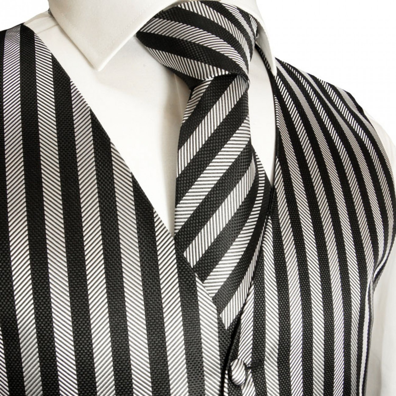 tuxedo vest black striped waistcoat and ascot tie v10