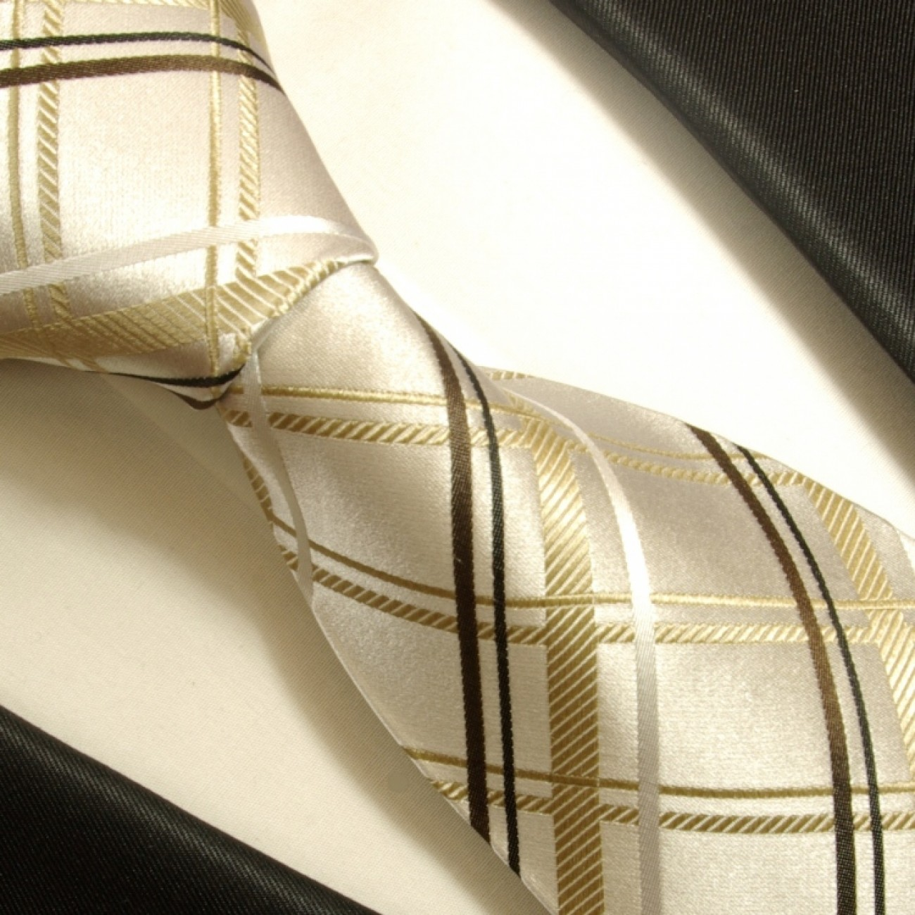 ivory brown necktie set 3pcs