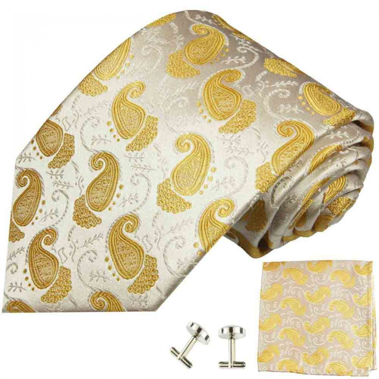 ivory gold mens tie paisley necktie - silk tie and pocket square and cufflinks