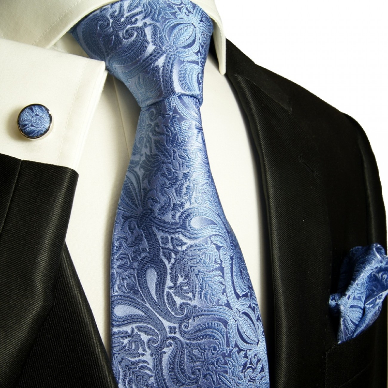 Blue mens tie paisley necktie - silk tie and pocket square and cufflinks