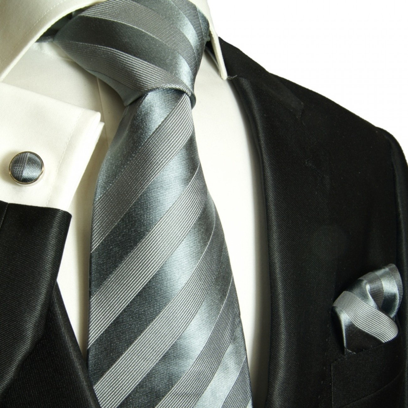 silver gray mens tie striped necktie - silk tie and pocket square and cufflinks