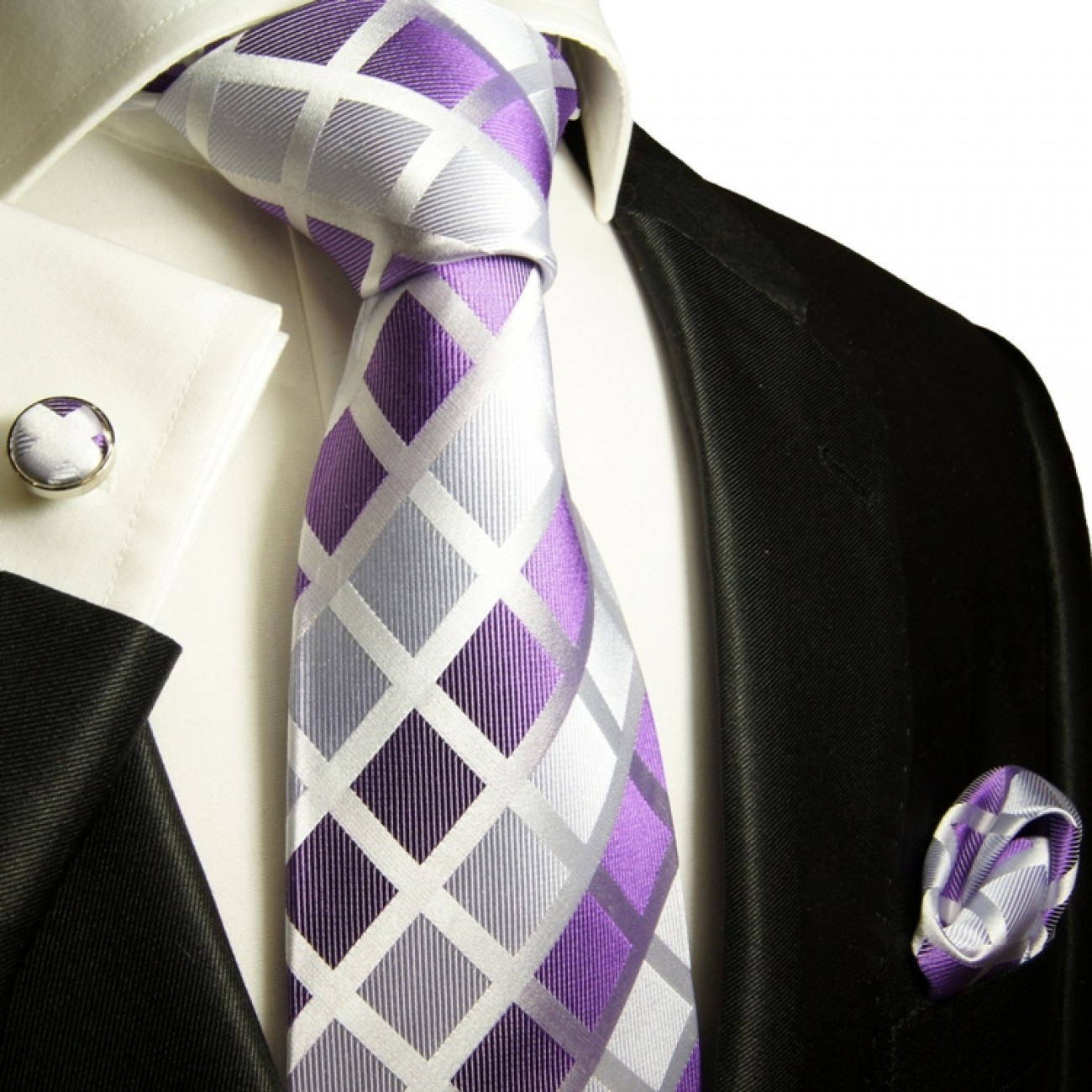 purple tie checkered necktie - silk mens tie and pocket square and cufflinks