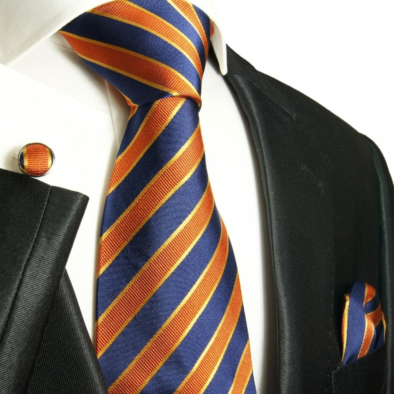 orange blue necktie