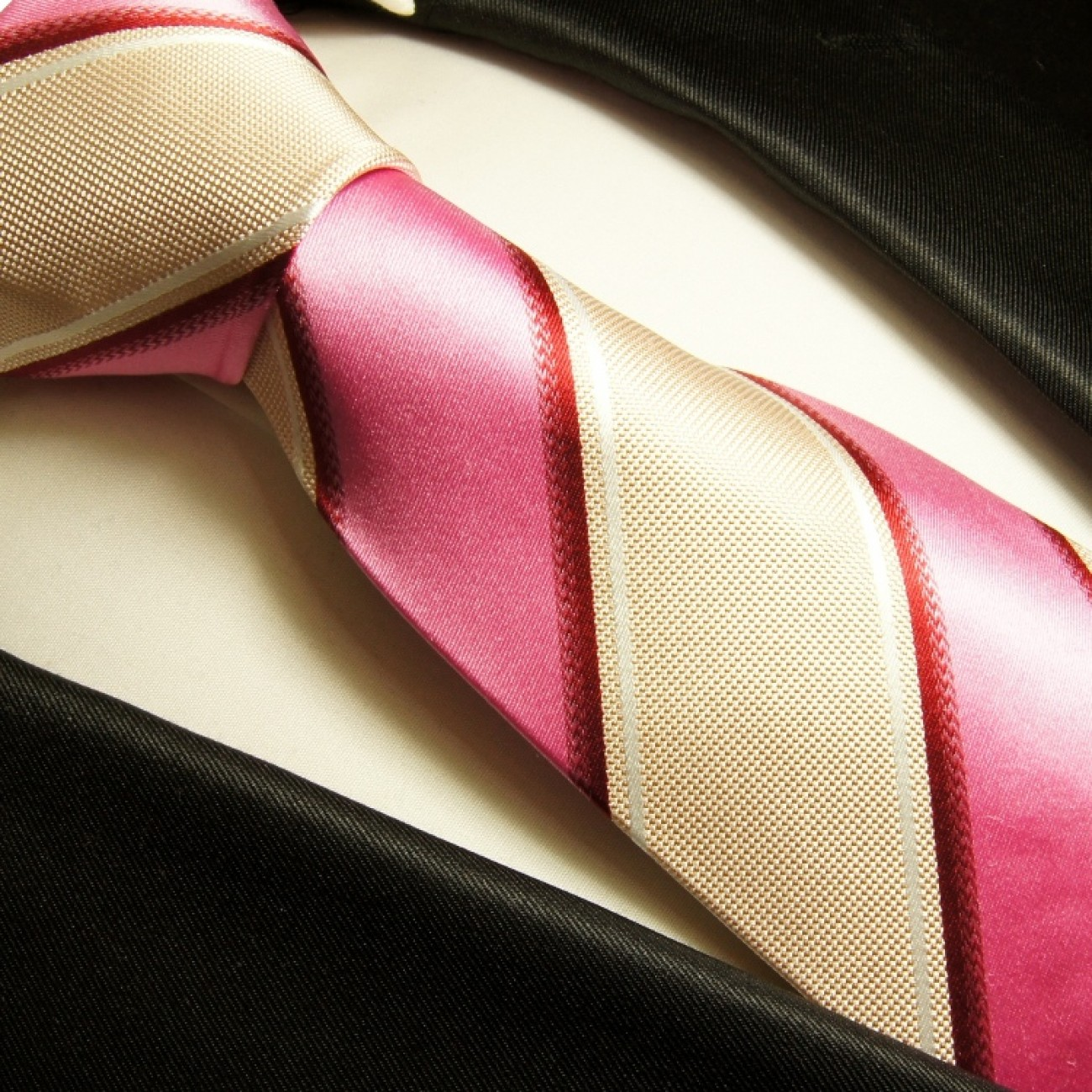 beige pink mens tie striped necktie - silk tie and pocket square and cufflinks