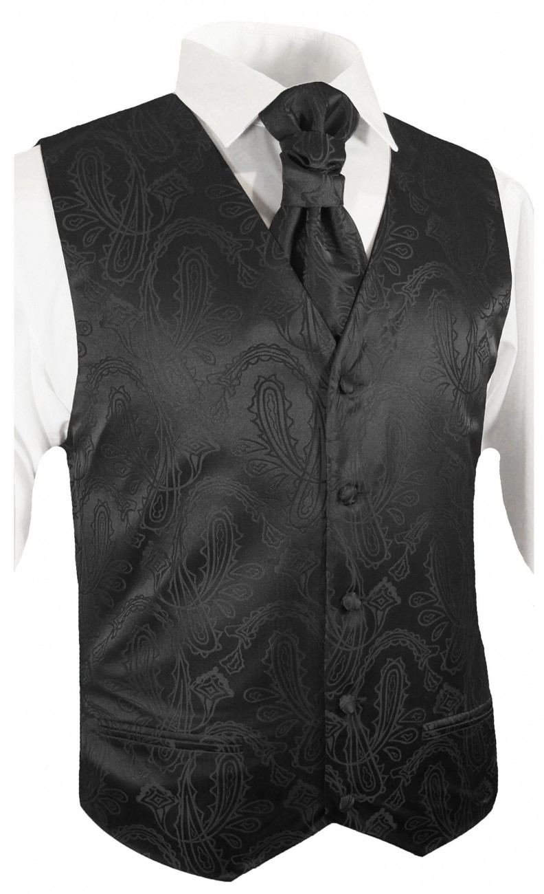 tuxedo vest black paisley wedding waistcoat and ascot tie v2