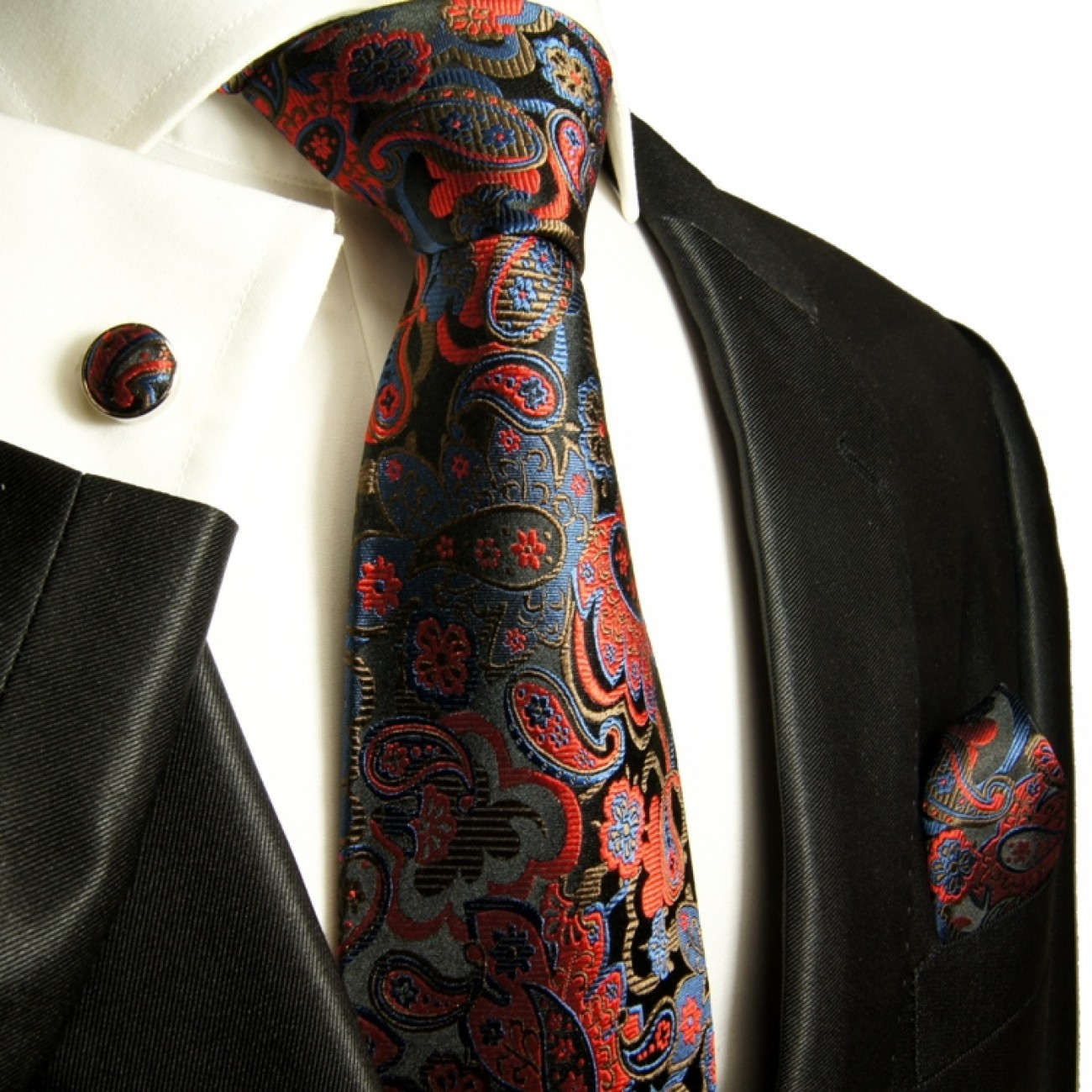 black red necktie set 3pcs