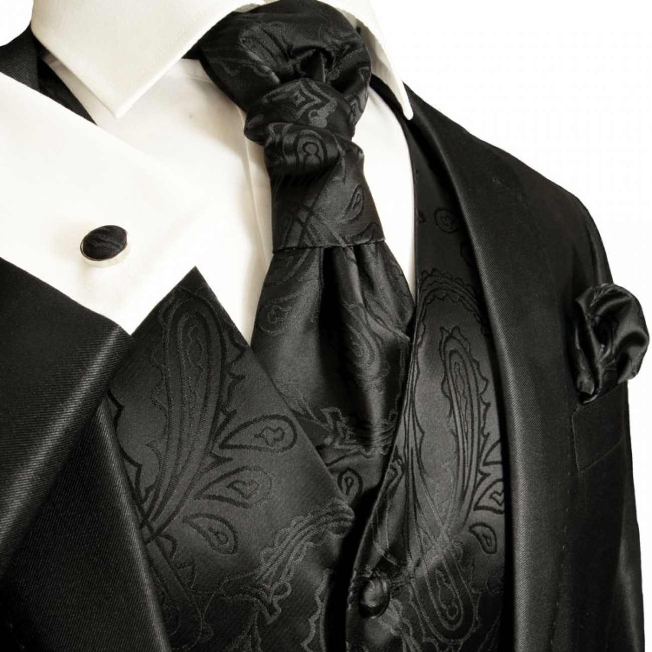 Wedding vest set with Ascot tie black