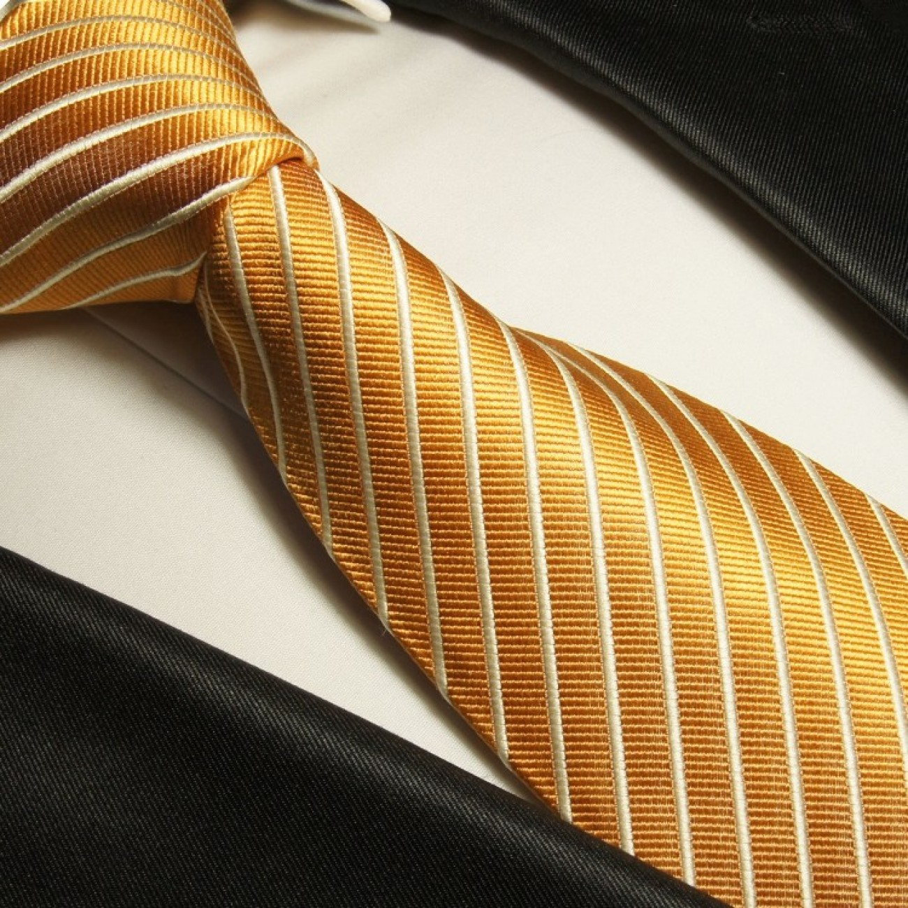 Gold striped necktie set 3pcs + handkerchief + cufflinks 760