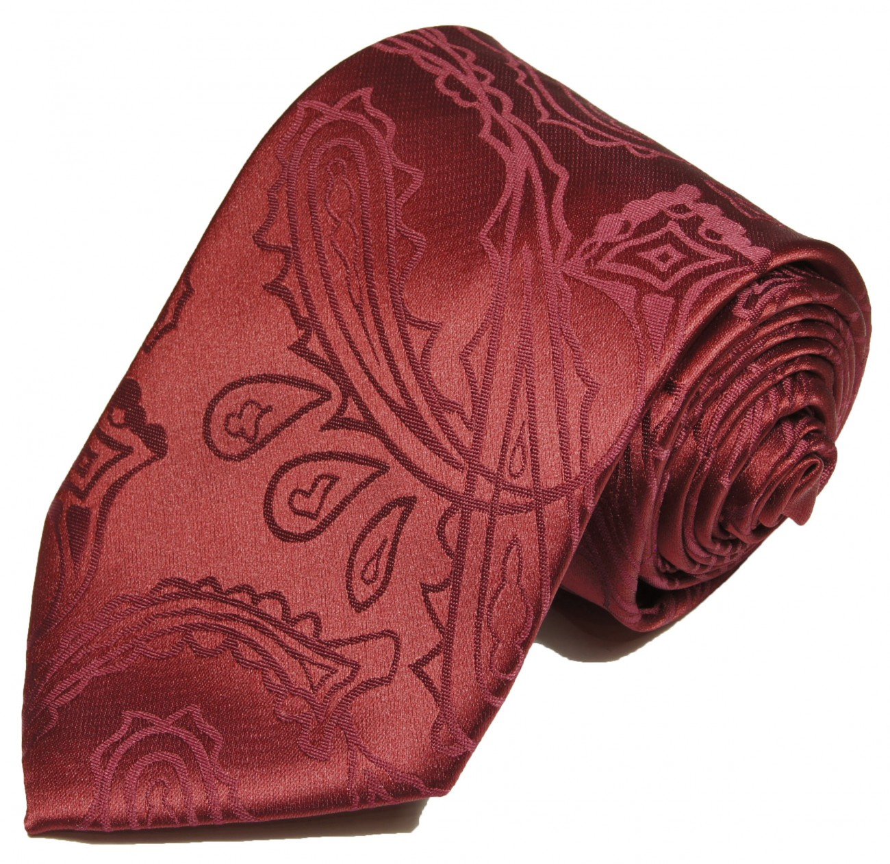 Burgundy red tie for wedding paisley pattern v1