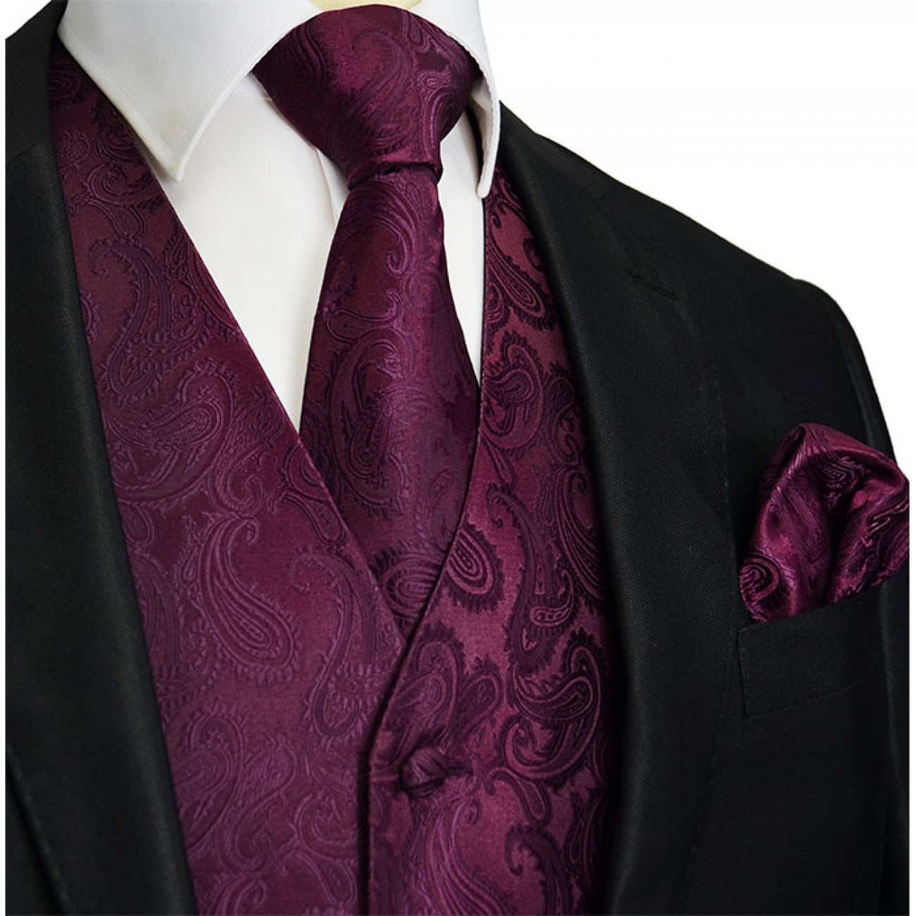 Crown jewel Wedding vest set with mens tie and pocket square