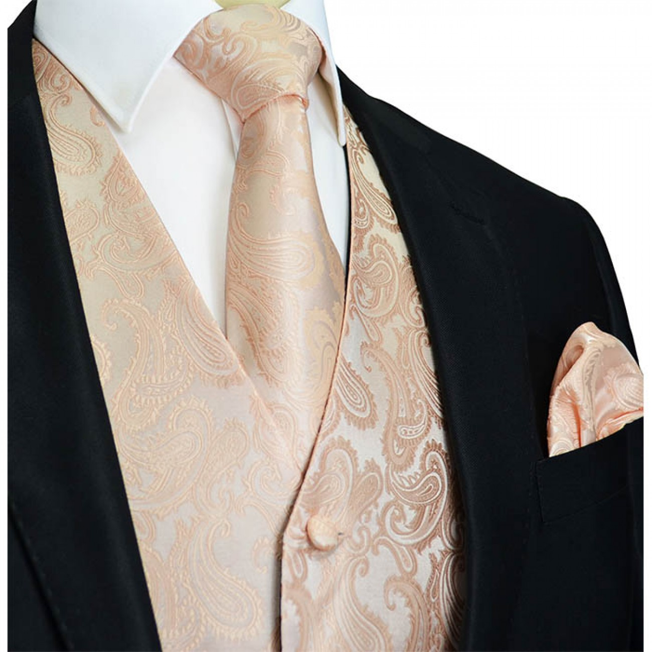 Coral Wedding vest set with mens tie and pocket square
