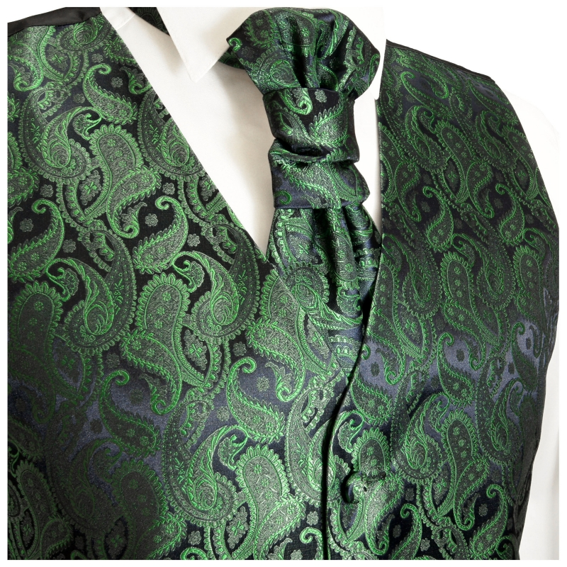 WEDDING VEST SET green and Shirt Slim Fit creme V14HL82