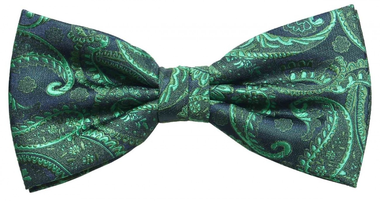 Bow tie green paisley