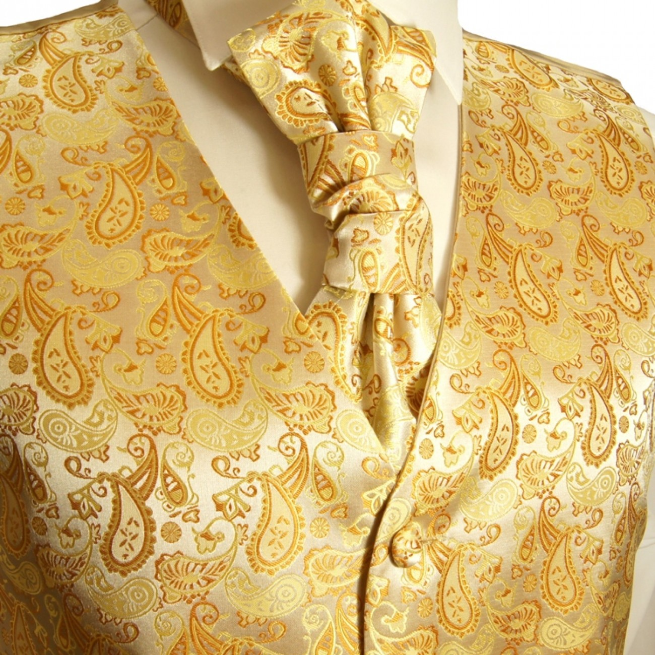 Gold waistcoat for wedding with necktie ascot tie pocket square and cufflinks v16
