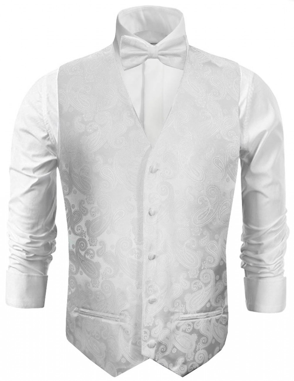 Wedding vest with bow tie uni white paisley