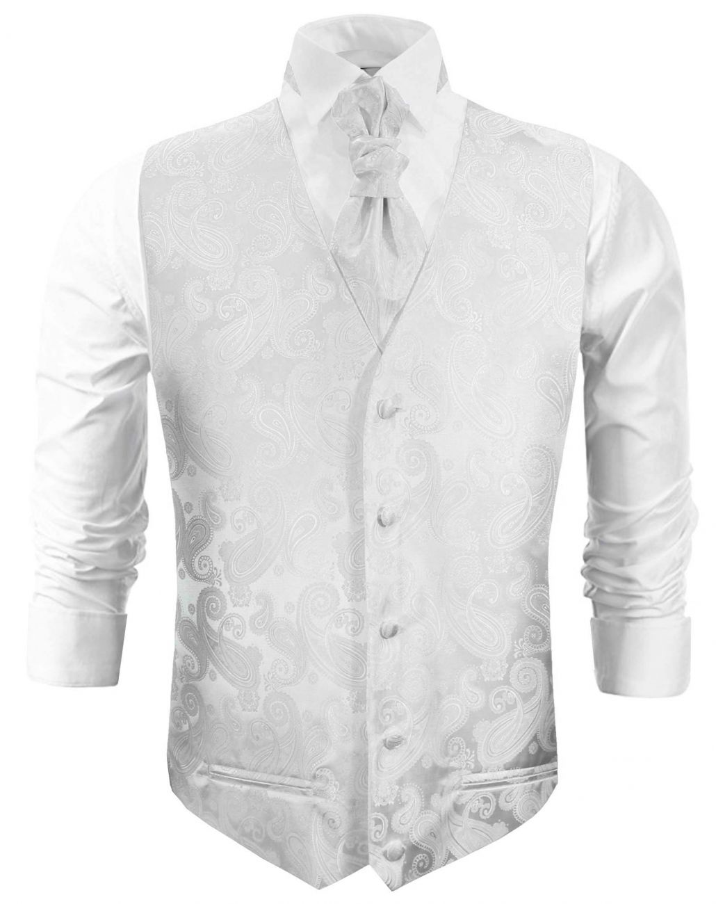 White paisley wedding vest waistcoat with cravat