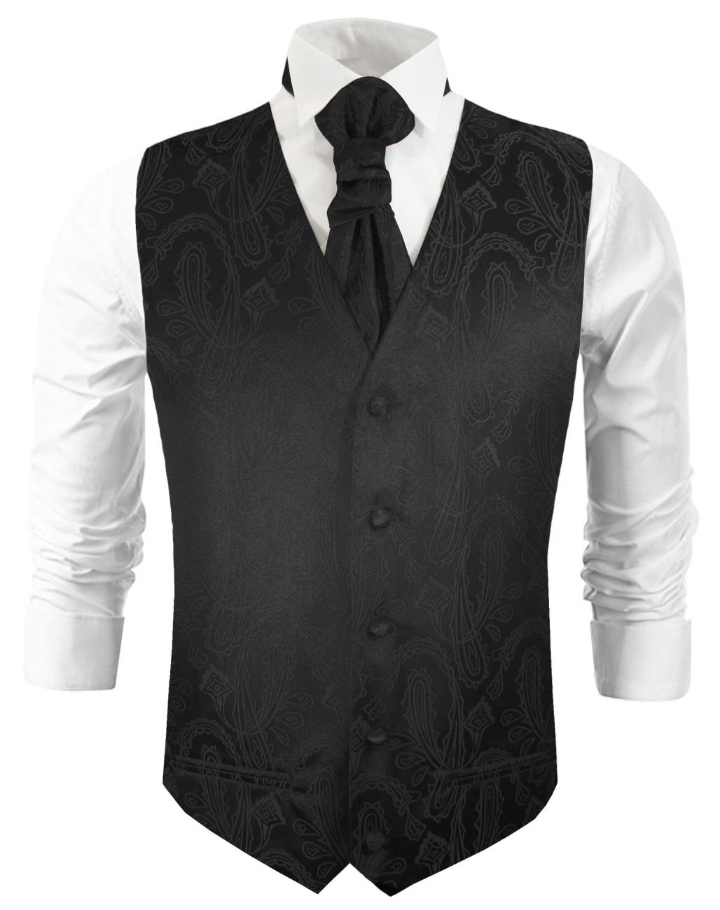 Black wedding vest paisley waistcoat with cravat