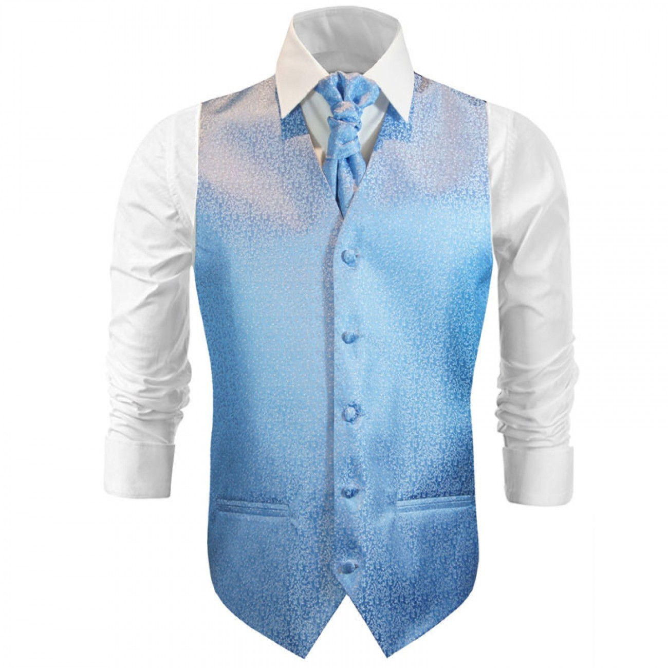 Wedding waistcoat with ascot tie light blue floral