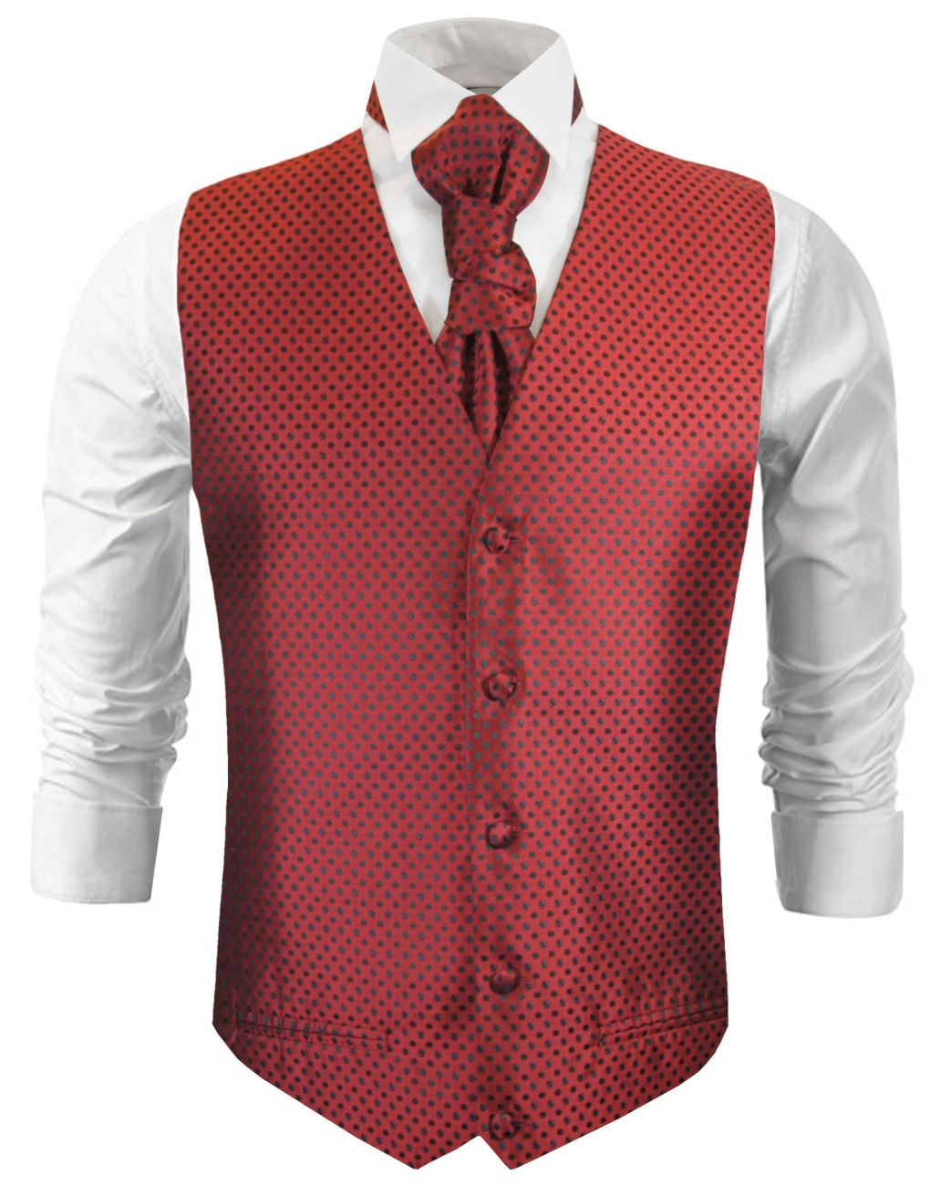 Red black dotted wedding vest waistcoat with cravat