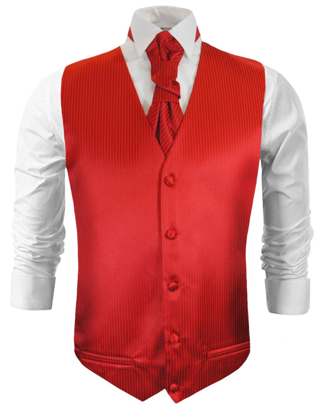Red striped wedding vest waistcoat with cravat