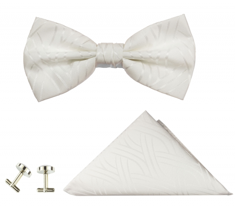 Bow tie ivory striped and pocket square