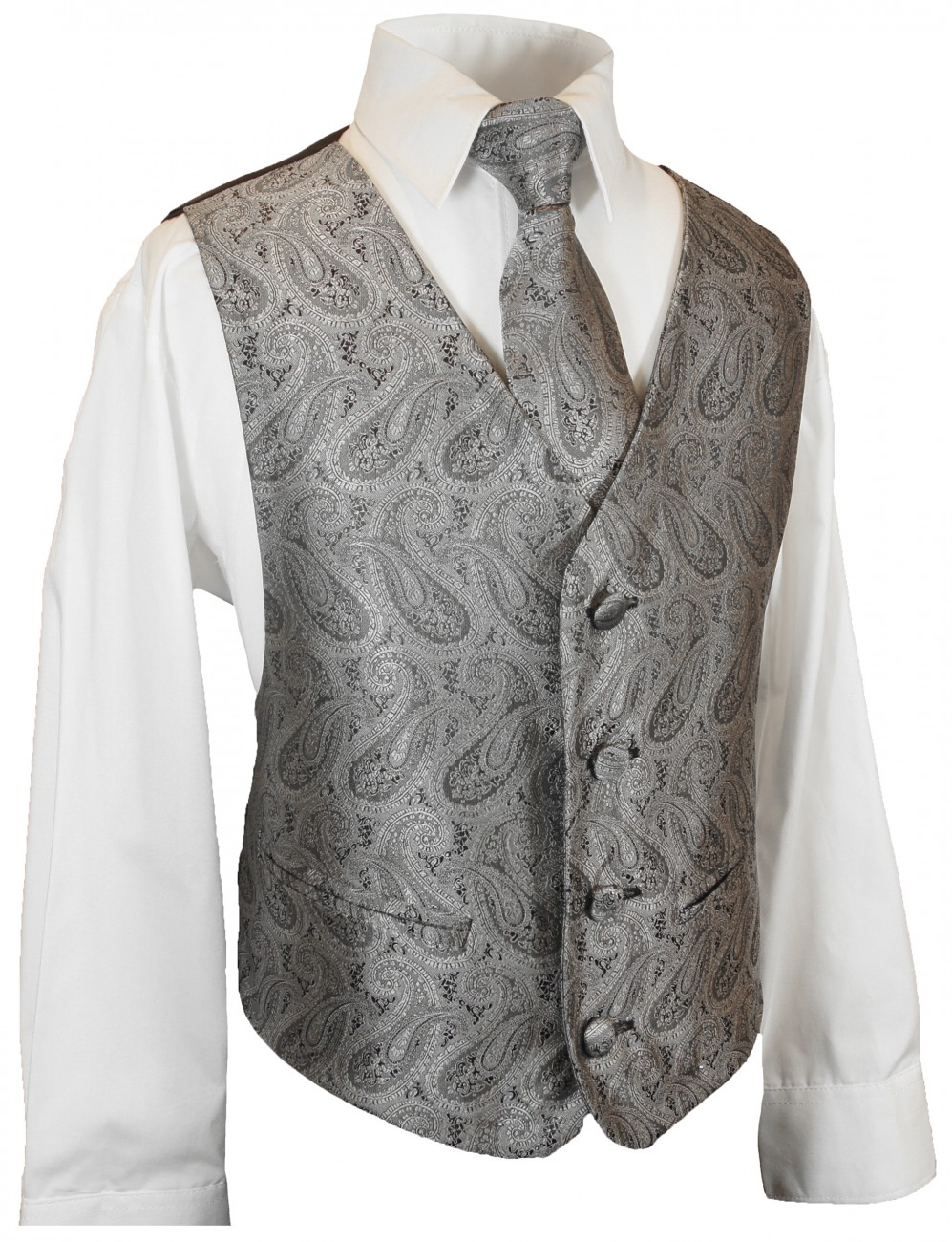 Partner combi - black and gray wedding suit with waistcoat set and shirt + boys suit and vest set