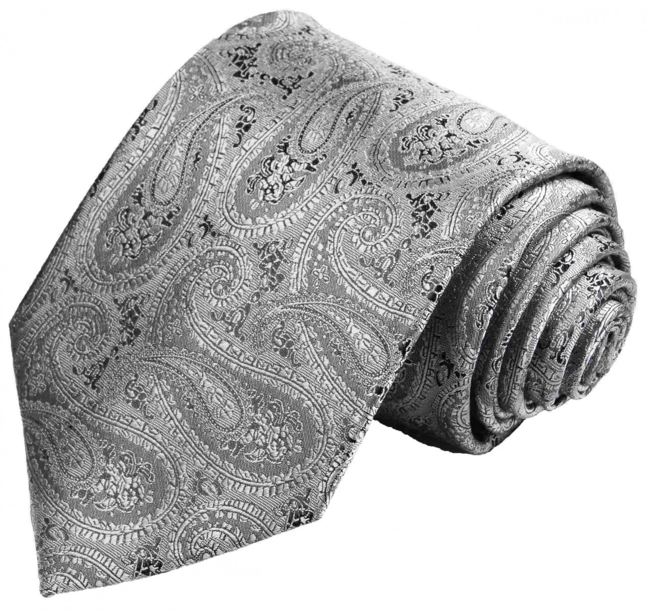 Silver gray tie for wedding paisley pattern v30