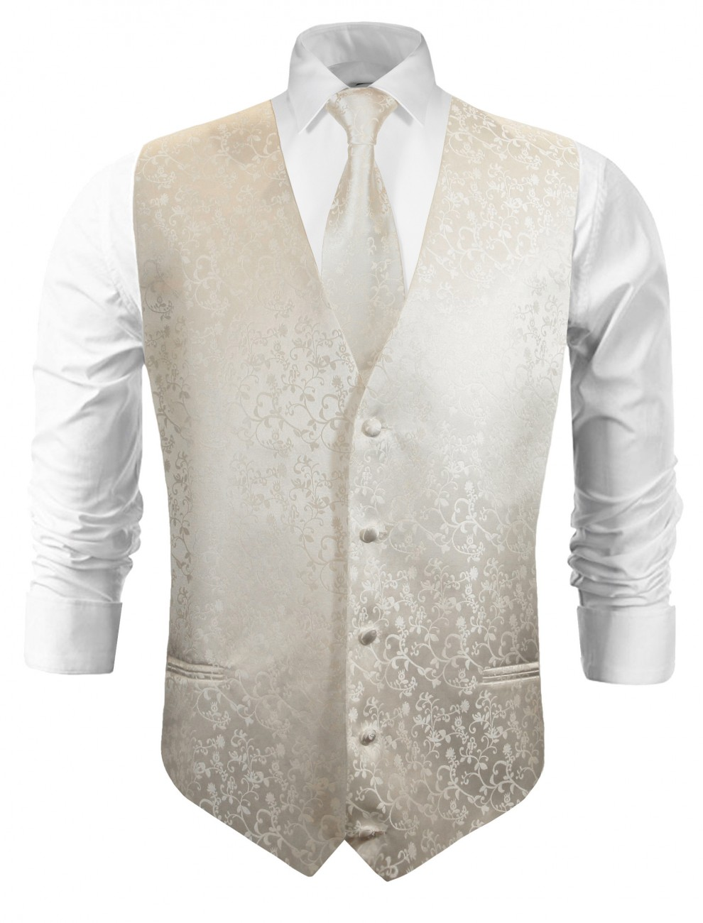 Festive vest with necktie ivory floral