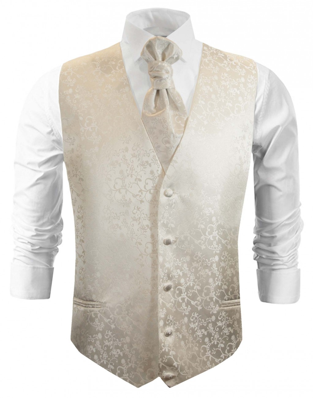 Ivory floral wedding vest waistcoat with cravat