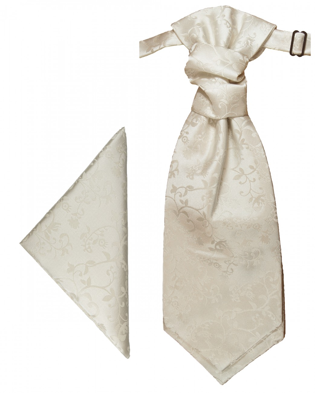 Ivory off-white floral ascot tie and pocket square | Wedding Cravat | Plastron