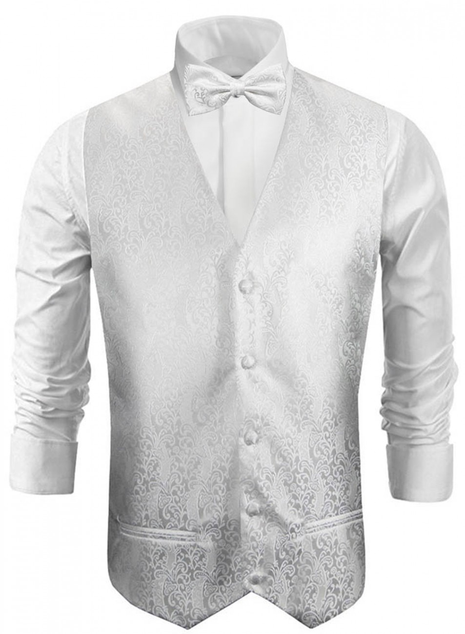 Wedding vest with bow tie uni white barock